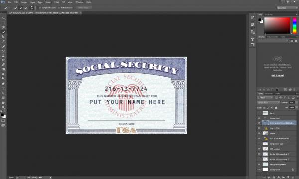 SSN Card PSD template