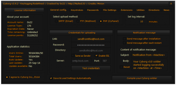 Cyborg version 3.9.2 Panel
