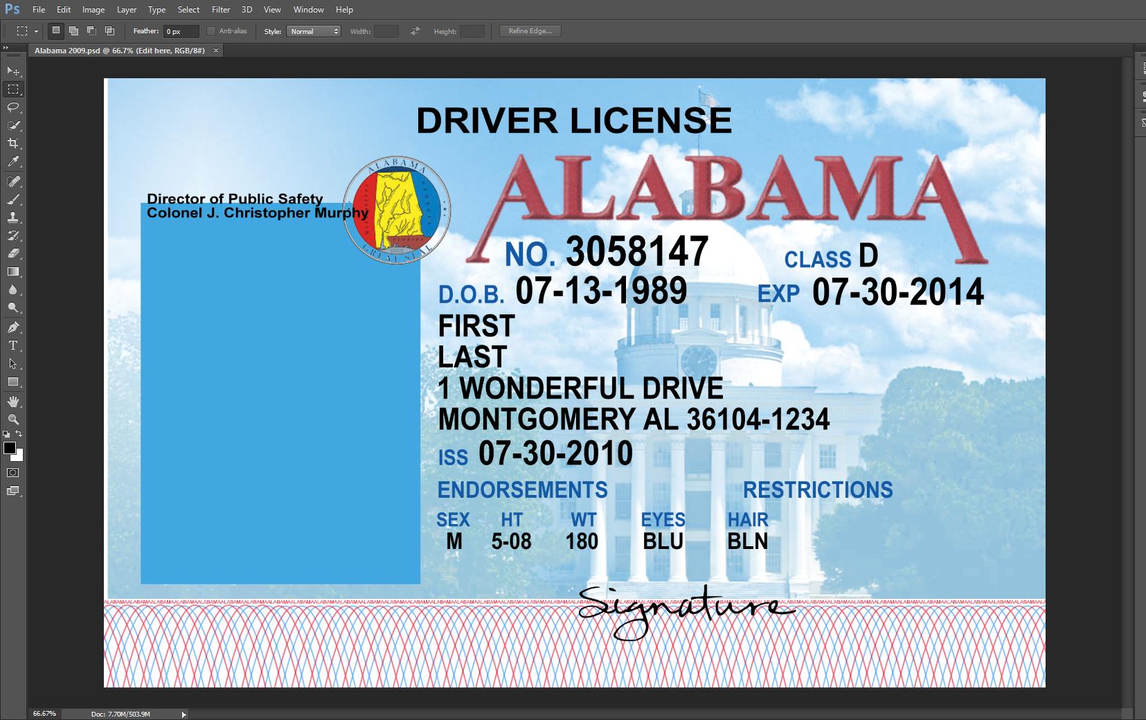 Alabama Driving Licence PSD Template
