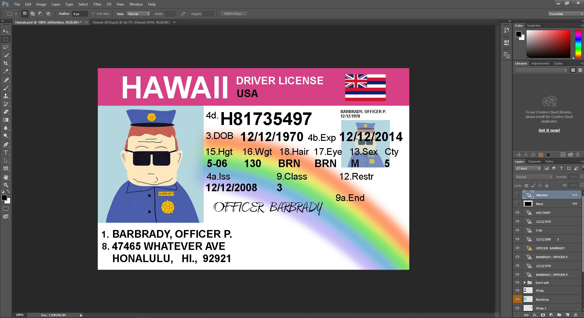 Hawaii driving licence psd template