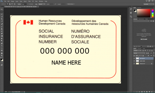 Canadian SIN card PSD Template