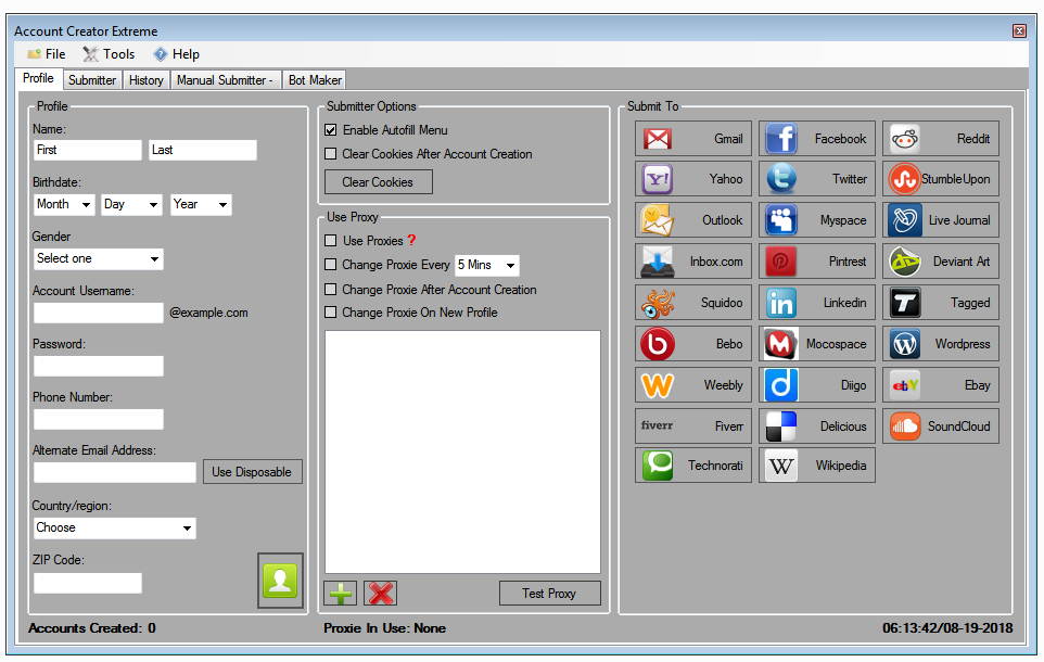 Account Creator Extreme 4.2 with 25  Supported Websites
