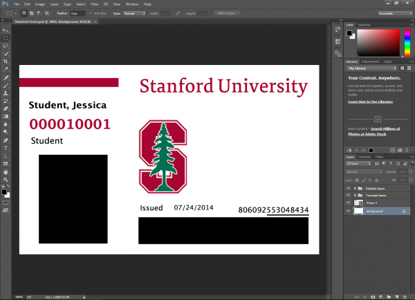 Stanford University ID Card PSD Template