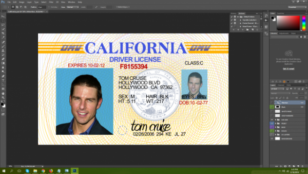 California Driving Licence PSD Template