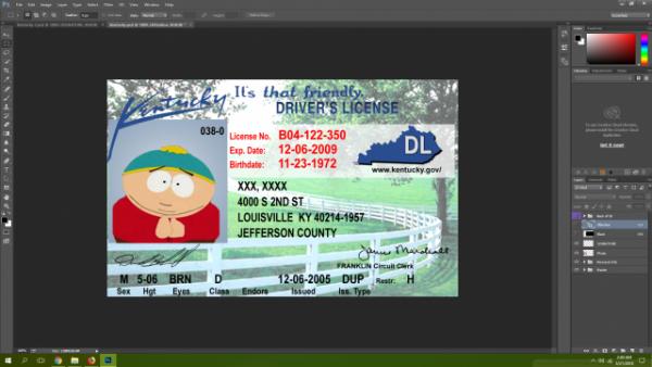 Kentucky driving licence psd template