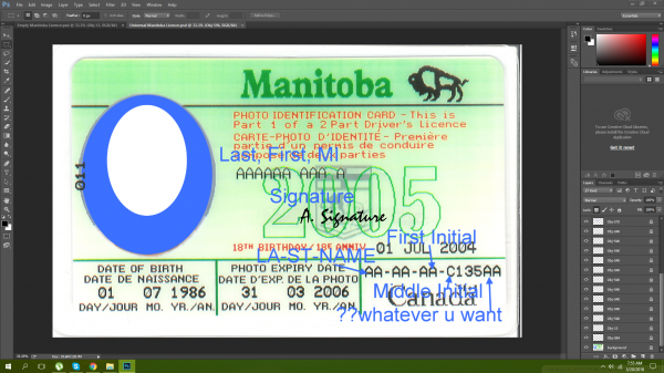 Manitoba Canada driving licence psd template