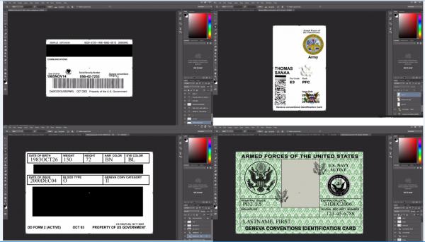 US Military id card psd template
