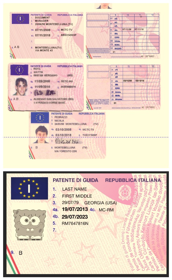 italy driving licence psd cdr template